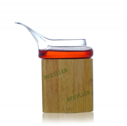 High Grade Bamboo Jacket Clear Glass Gongfu Tea Pitcher 250ml 8.4fl. oz * Free Shipping