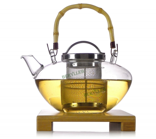 YWY High Grade Clear Glass Teapot w/t Infuser 1.2L 40.3fl.oz + Bamboo Holder * Free Shipping