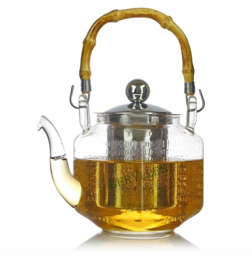 High Grade Cubic Clear Glass Teapot w/t Stainless Steel Infuser 600ml 20fl. oz * Free Shipping