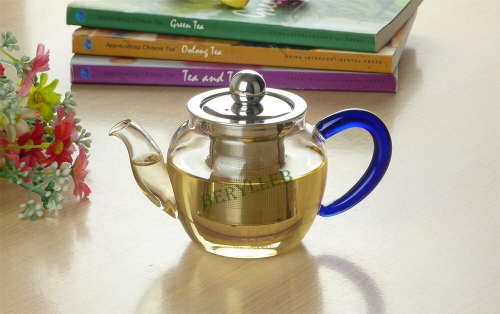 BDS High Grade Blue Handle Clear Glass Gongfu Teapot w/t Infuser 250ml 8.4fl.oz * Free Shipping