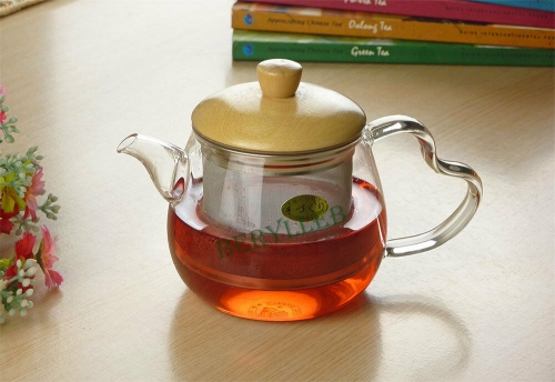 High Grade Clear Glass Teapot w/t Stainless Steel Infuser & Wood Lid 400ml * Free Shipping